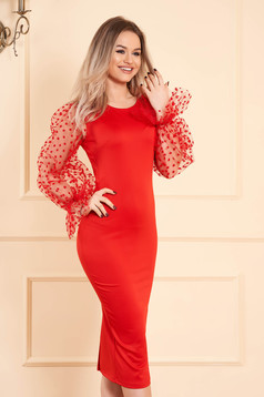 Red dress midi pencil with rounded cleavage slightly elastic fabric long sleeved transparent sleeves occasional