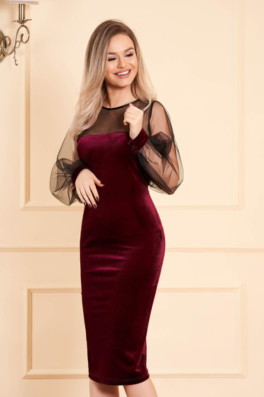 Burgundy dress occasional midi pencil velvet long sleeved transparent sleeves