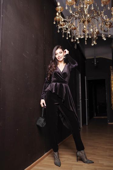 Black jumpsuit occasional clubbing velvet with v-neckline wrap over front long sleeved