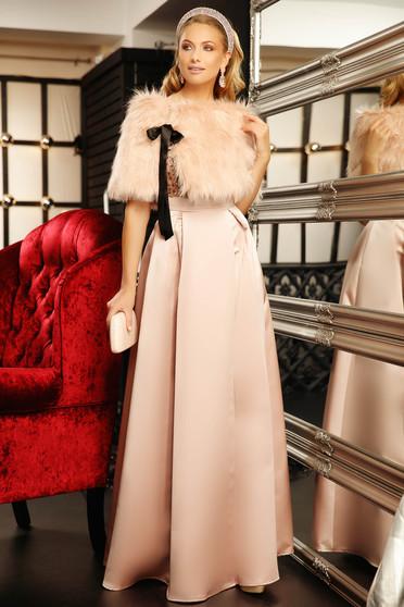 Lightpink fur satin ribbon fastening from ecological fur