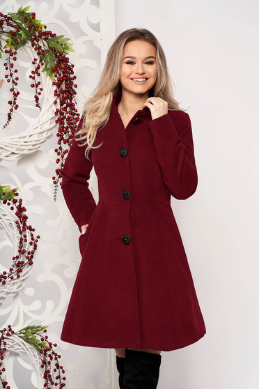 Burgundy coat from thick fabric arched cut with inside lining cloth