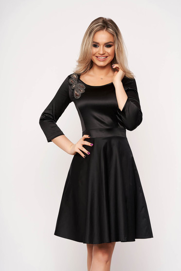 StarShinerS black dress occasional with 3/4 sleeves cloche manual sewed embroidery