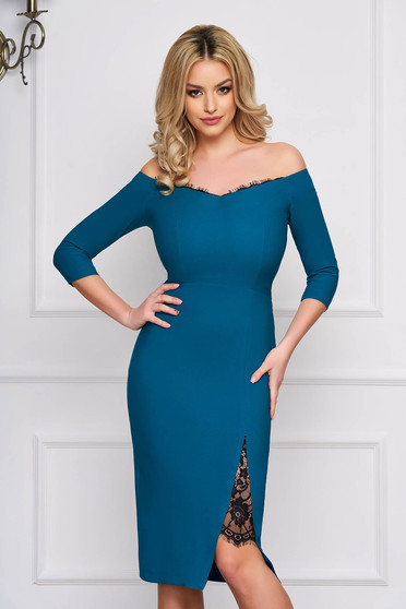 StarShinerS green dress elegant midi pencil cloth thin fabric with 3/4 sleeves naked shoulders with lace details