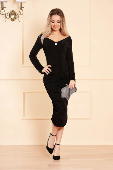 Black dress occasional long sleeved naked shoulders pencil slightly elastic fabric
