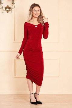 Red dress occasional long sleeved naked shoulders pencil slightly elastic fabric