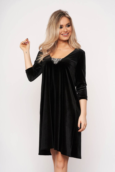StarShinerS black dress occasional strass velvet with 3/4 sleeves flaring cut