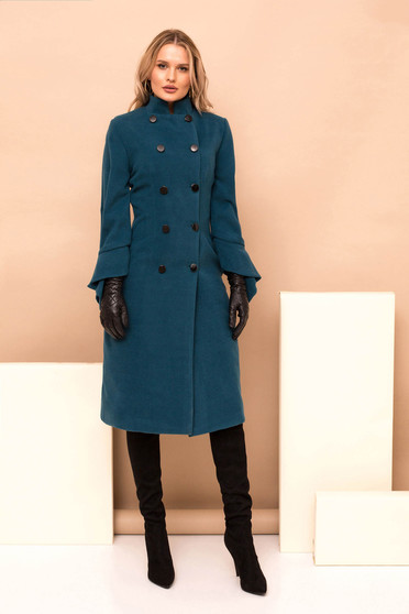 Turquoise long straight occasional coat with turtle neck with button accessories