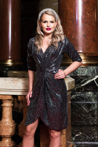 Silver dress occasional wrap over front with 3/4 sleeves with crystal embellished details short cut