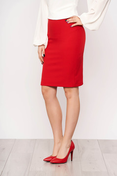 StarShinerS red office skirt straight high waisted slightly elastic fabric with inside lining