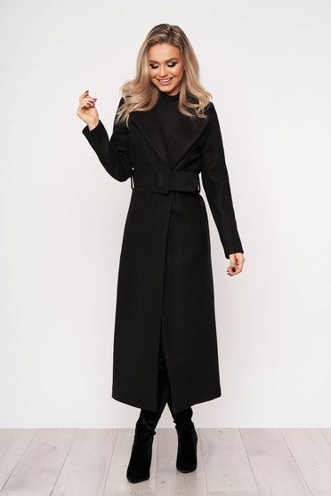 Black coat elegant arched cut without clothing casual