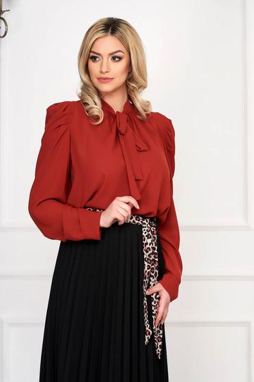 Bricky women`s shirt office long sleeved from veil fabric short cut flared