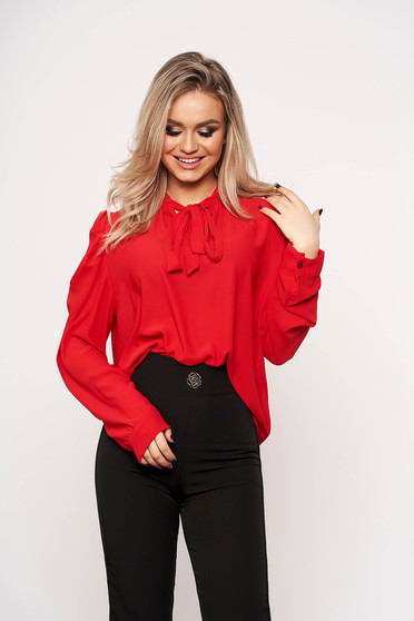 Red women`s shirt office bow accessory long sleeved thin fabric