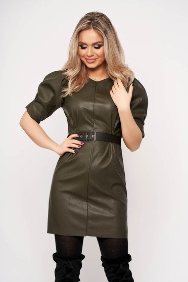 Khaki dress elegant from ecological leather neckline faux leather belt high shoulders