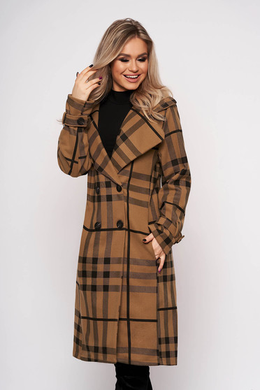 Brown trenchcoat with button accessories with pockets office with chequers