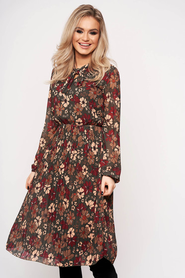 Khaki dress with elastic waist with floral prints daily tied with bow
