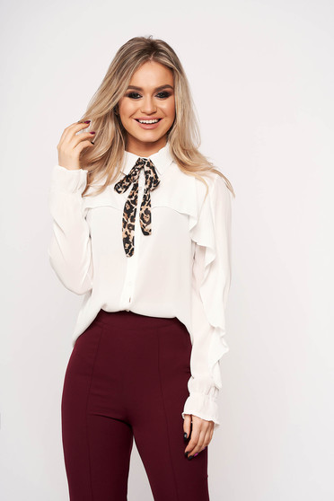 White women`s shirt bow accessory office animal print