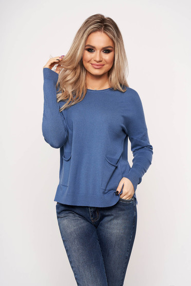Blue women`s blouse with pockets with round collar casual thin fabric