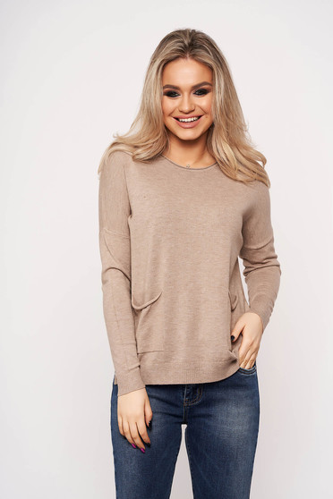 Brown women`s blouse with pockets with round collar casual thin fabric
