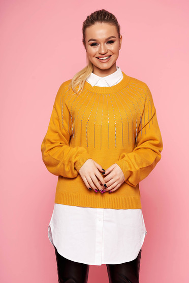 Mustard sweater long sleeve with crystal embellished details with rounded cleavage accessorized with chain casual