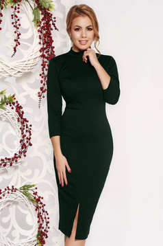 StarShinerS green dress pencil with tented cut office midi scuba with 3/4 sleeves slightly elastic fabric