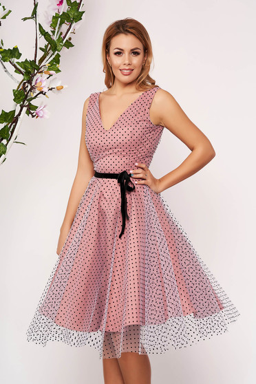 StarShinerS lightpink dress from tulle with dots print occasional midi cloche sleeveless