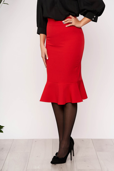 StarShinerS red office pencil skirt with ruffle details midi flexible thin fabric/cloth