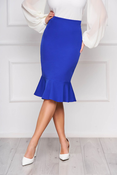 StarShinerS blue office pencil skirt with ruffle details midi flexible thin fabric/cloth