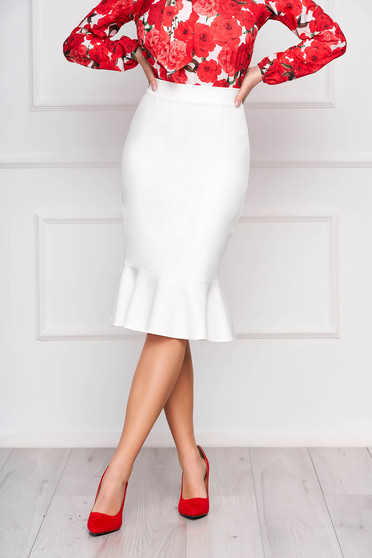StarShinerS white office pencil skirt with ruffle details midi flexible thin fabric/cloth