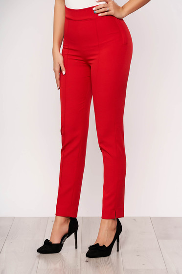 StarShinerS red office trousers high waisted slightly elastic fabric with pockets cloth conical
