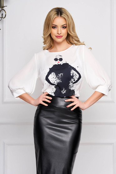 StarShinerS white women`s blouse elegant short cut flared with 3/4 sleeves from veil