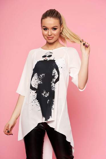 StarShinerS white women`s blouse elegant long from veil asymmetrical flared with graphic details
