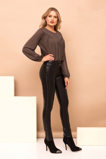 Black trousers clubbing high waisted with metallic spikes from ecological leather
