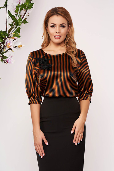 StarShinerS mustard women`s blouse elegant short cut flared from satin with stripes