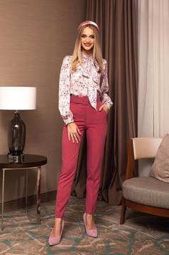 Trousers red office conical high waisted accessorized with belt