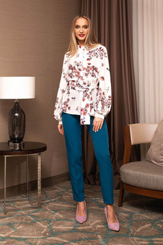 Trousers turquoise office conical high waisted accessorized with belt