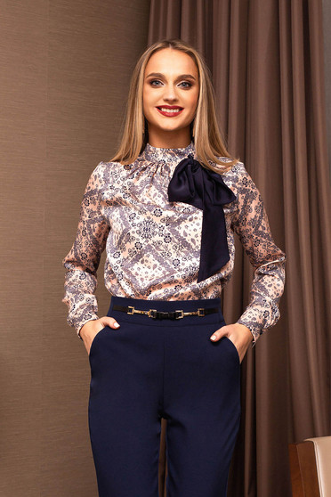 Lightpink women`s blouse with bow turtleneck office