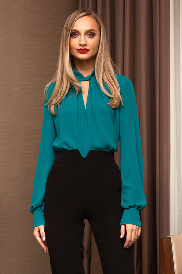 Turquoise women`s blouse office cut-out bust design
