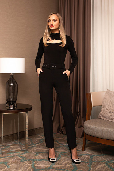 Trousers black office conical high waisted accessorized with belt
