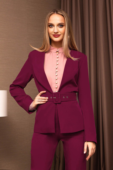 Burgundy jacket elegant blazer accessorized with a waistband