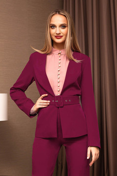 Raspberry jacket elegant blazer accessorized with a waistband short cut long sleeved arched cut