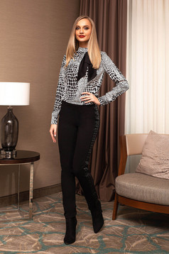Black women`s blouse with graphic details elegant with bow short cut turtleneck