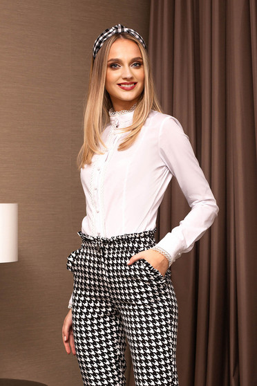 White women`s shirt office with round collar tented