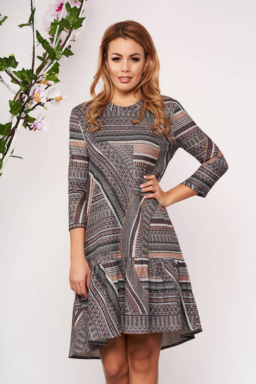 StarShinerS brown dress elegant flared without clothing with 3/4 sleeves knitted
