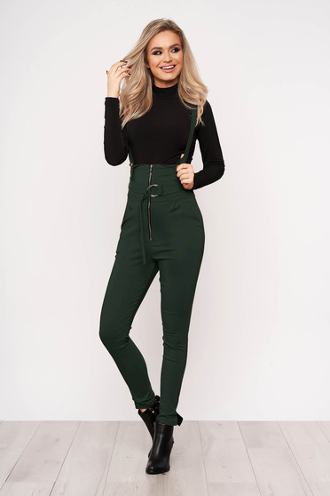 Dirty green jumpsuit casual stretch with an accessory zippers