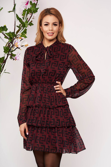 Burgundy dress daily short cut cloche with inside lining with elastic waist with ruffle details airy fabric