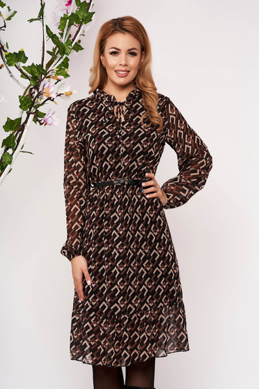 Brown dress elegant midi cloche airy fabric elastic waist faux leather belt