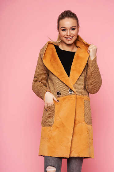 Mustard trenchcoat casual straight with undetachable hood with faux fur details