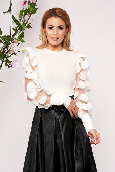White women`s blouse elegant short cut knitted long sleeved from tulle arched cut