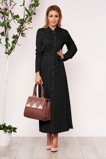 Black dress casual long straight long sleeved with buttons