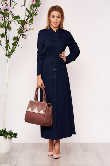 Darkblue dress casual long straight long sleeved with buttons